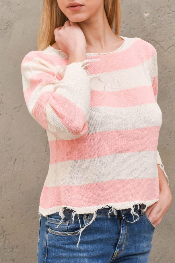 Women's raw cut sweater white pink. 7081HROSA/PANNA