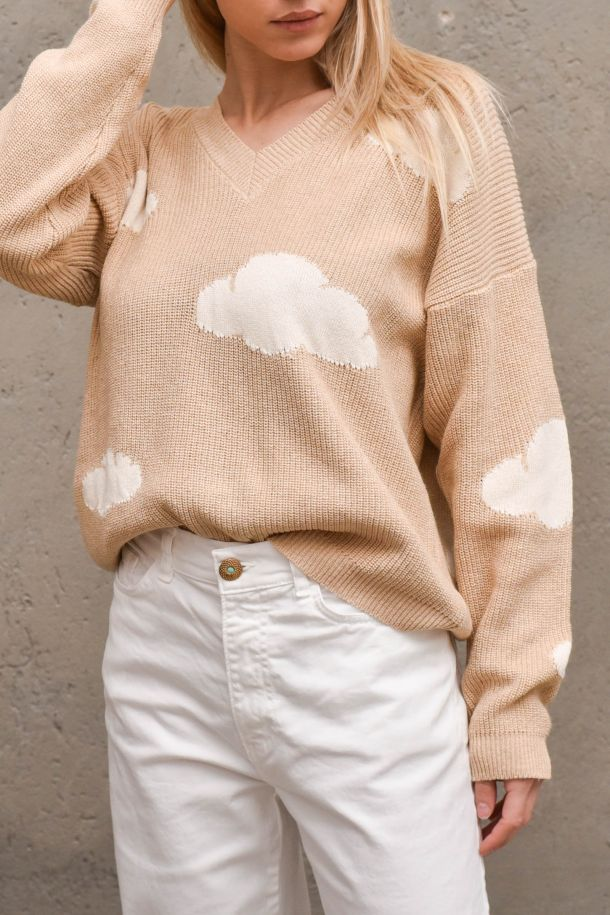 Women's sweater with clouds v neck camel. 7082HCAMMELLO/PANNA