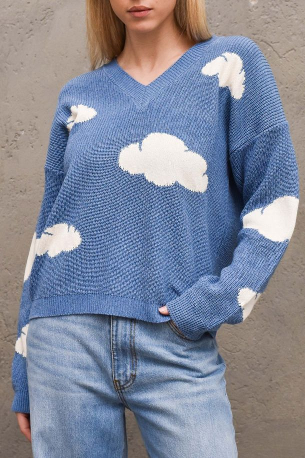 Women's sweater with clouds v neck navy. 7082HNAVY/PANNA