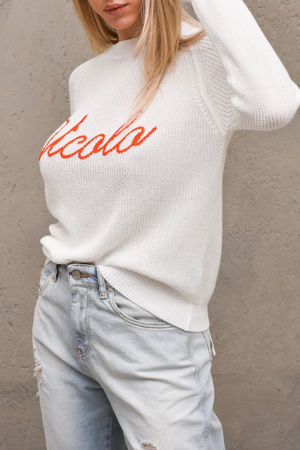 Womne's worked sweater embroidered logo white. 7085HBIANCO