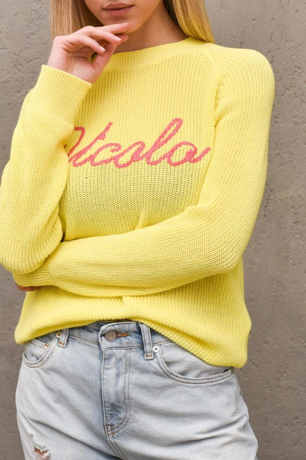 Womne's worked sweater embroidered logo yellow. 7085HGIALLO