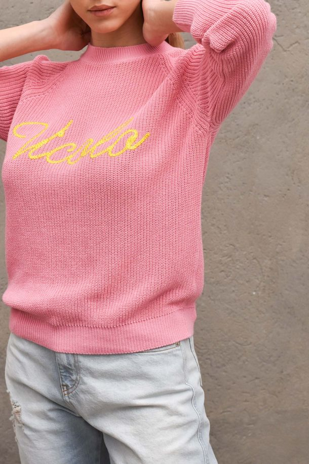 Womne's worked sweater embroidered logo pink. 7085HROSA