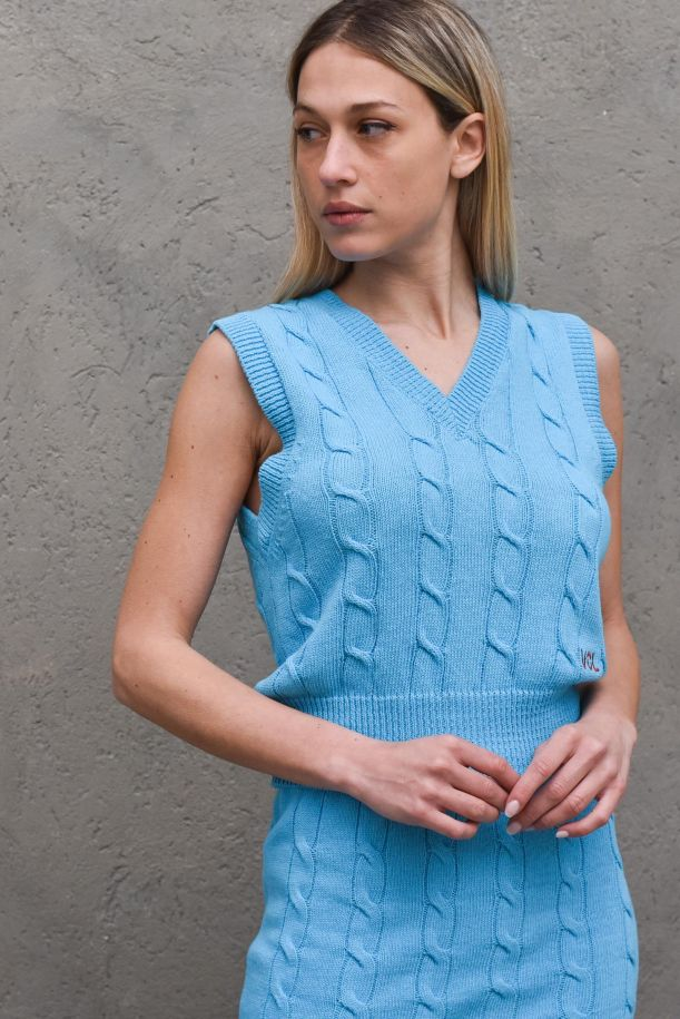 Women's knitted worked gilet turquoise. 7104HTURCHESE