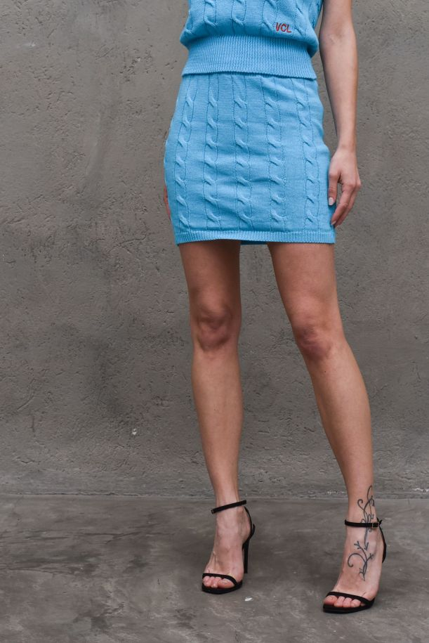 Women's knitted skirt turquoise. 7105HTURCHESE