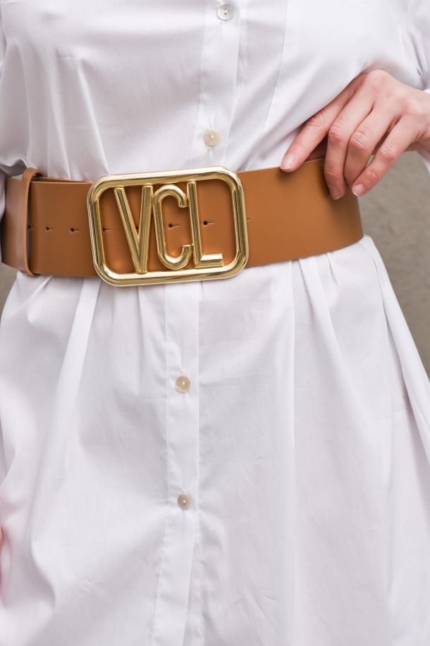 Women's high belt gold, light brown color. AH0022MARRONE