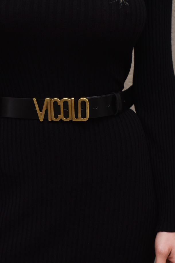 Women's medium belt with logo, black. AH0028NERO