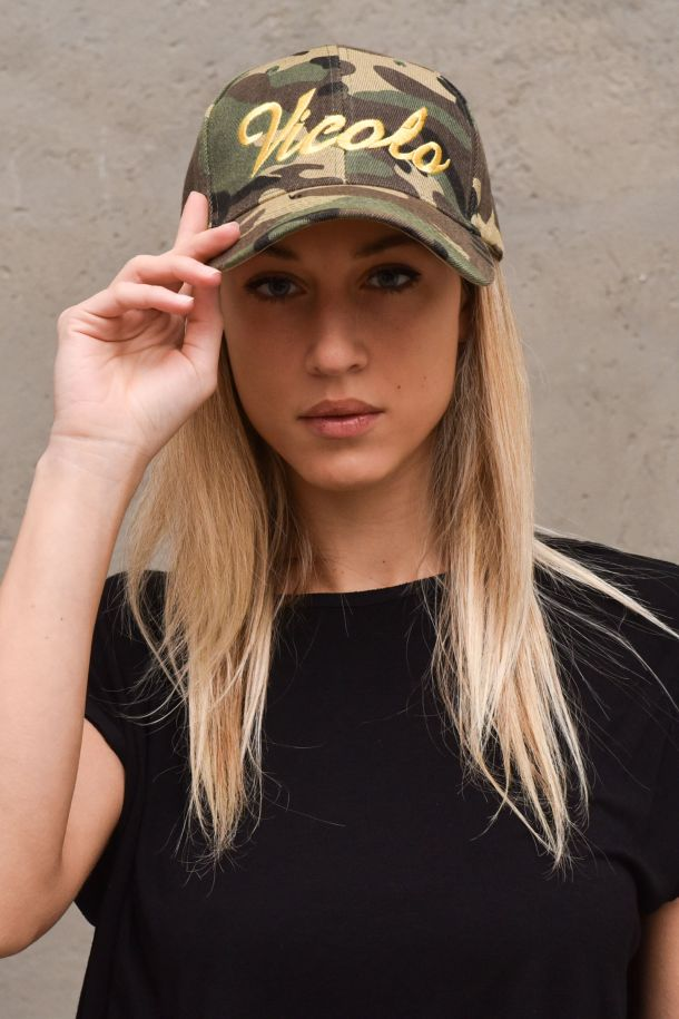 Women's military hat embroidered logo. AH0029MILITARY