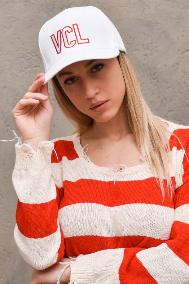 Women's hat embroidered logo white. AH0030BIANCO