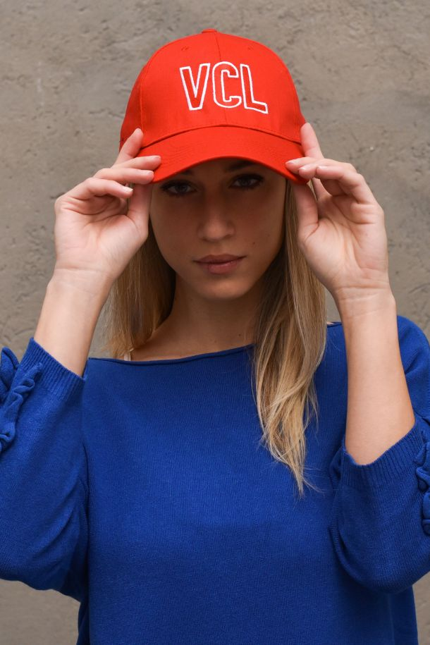 Women's hat embroidered logo red. AH0030ROSSO