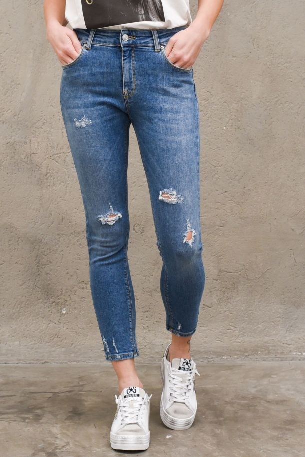 Women's slim jeans with tears blue. DH0026DENIM