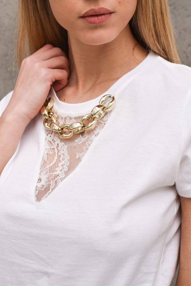 Women's t-shirt with chain lace white. RH0027BIANCO