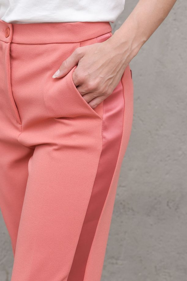 Women's trousers with side satin band pink. TH0030RUGGINE