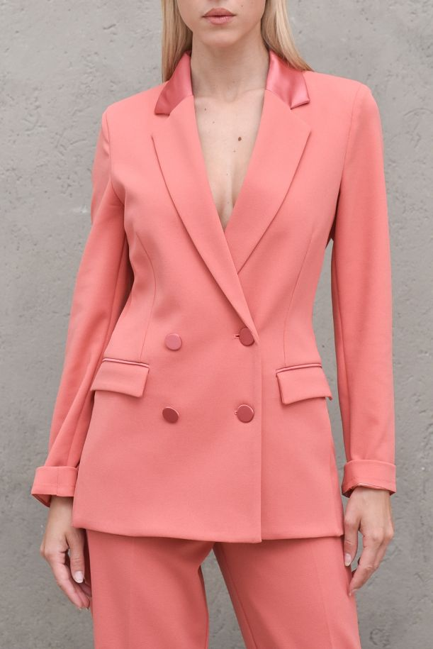 Women's jacket double breast pink. TH0031RUGGINE