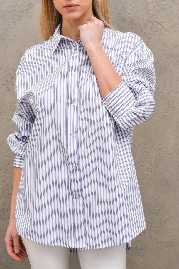 Women's long shirt vertical stripes light blue. TH0234BIANCO/CELESTE