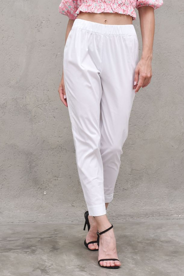 Women's high waisted pant white. TH0629BIANCO