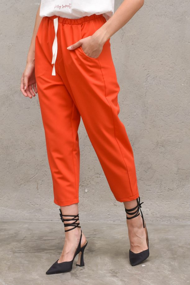 Women's high waised trouser with lace orange. TH0634ARANCIO
