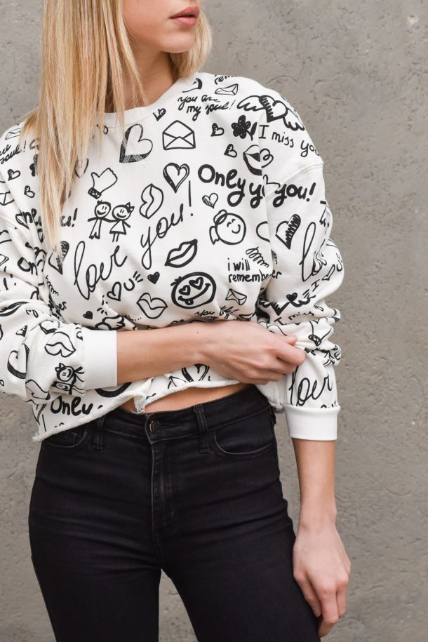 Women's sweater with words cream. TH0649PANNA
