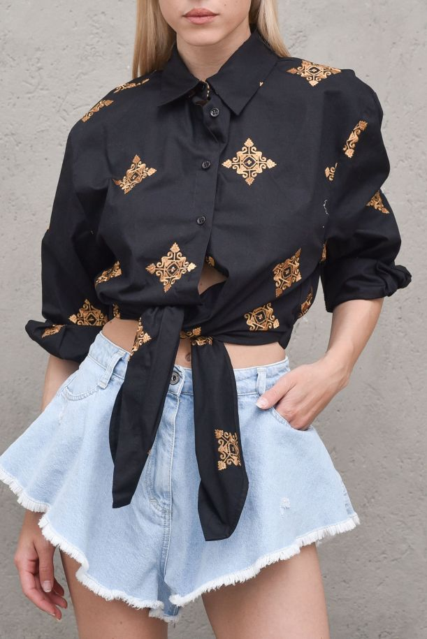 Women's shirt front knot embroidered black. TH1932NERO