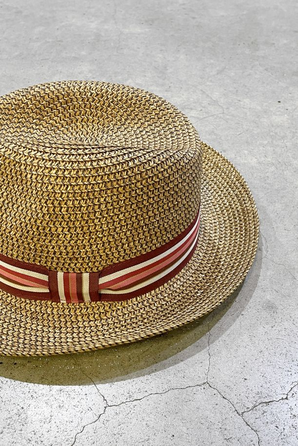 Men's straw hat with band brown. 1556MARRONE