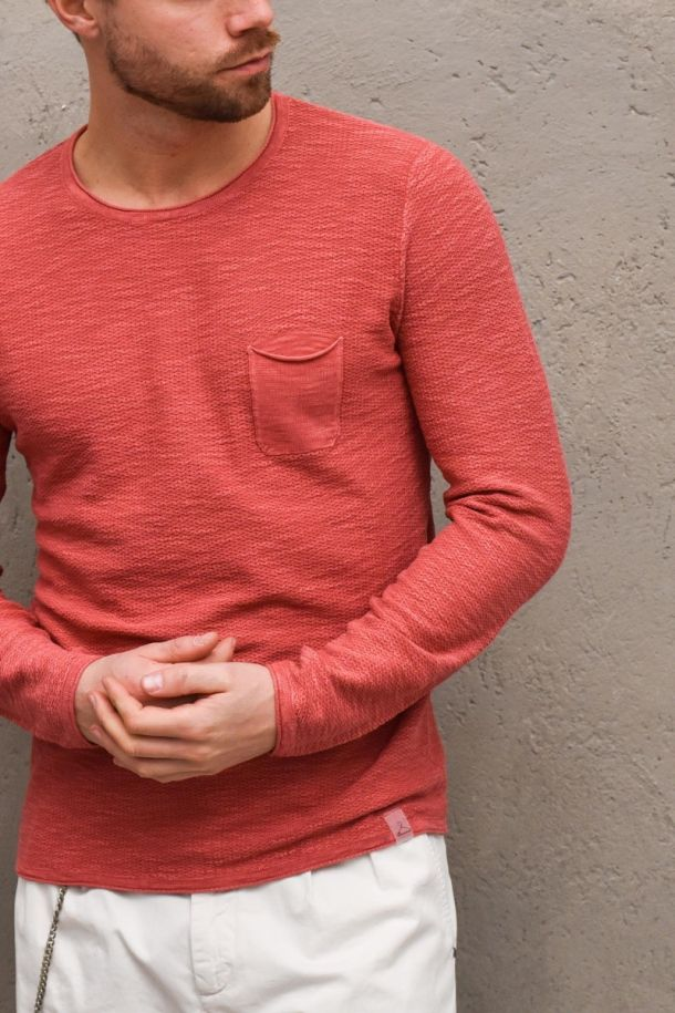 BERNA MEN'S SWEATER WITH POCKET CORAL COLOR