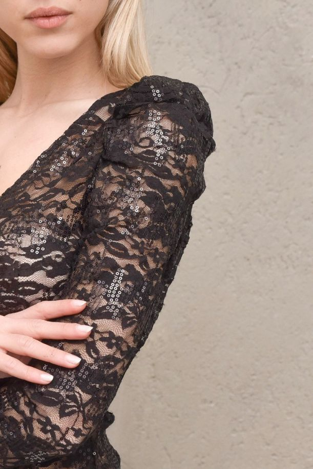 Women's body lace with puff sleeves and paillettes black. KNT 19 TM1116/NERO
