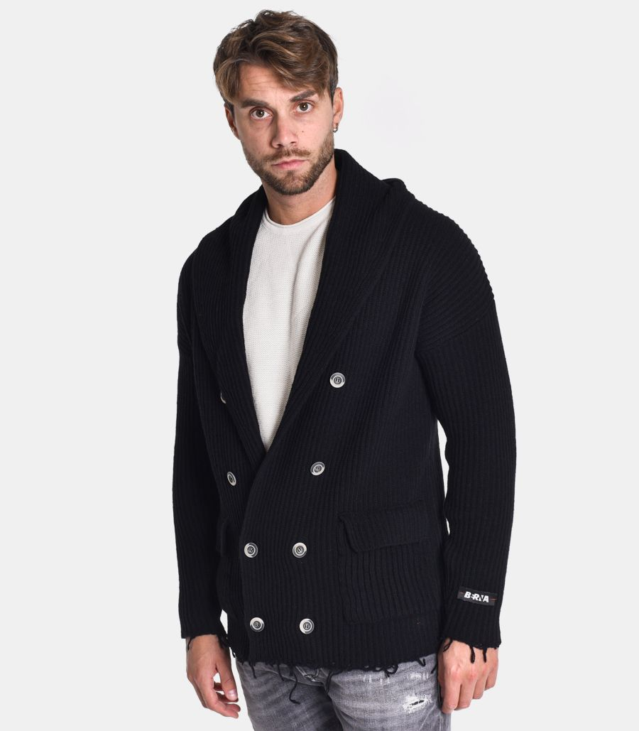 Men's knitted jacket double breast black. M 2051901