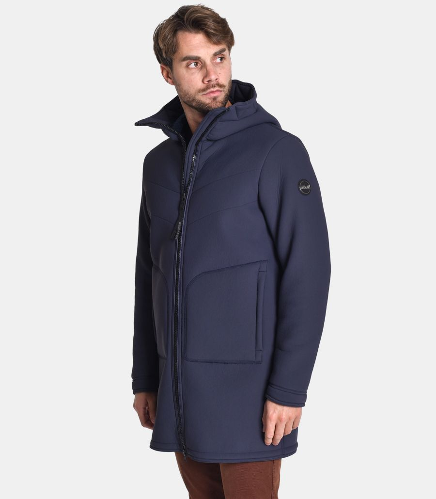 Men's long quilted jacket blue. 1130
