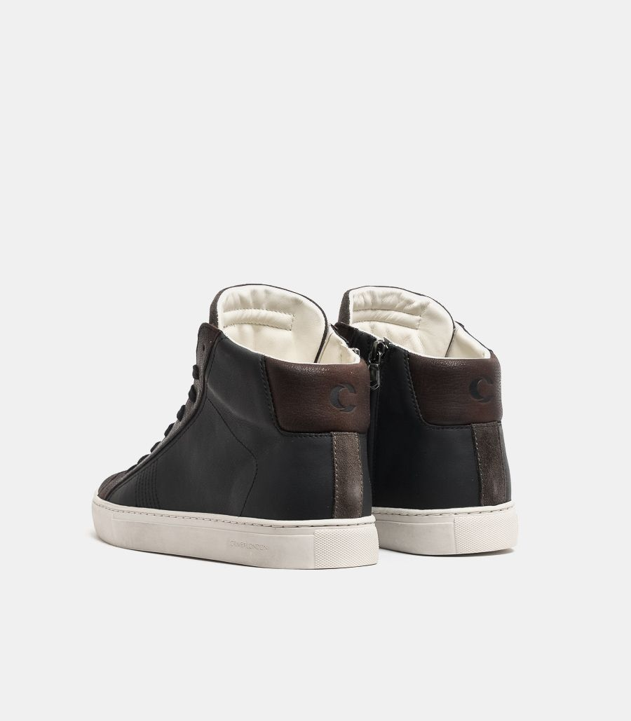 Men's high leather shoe black brown. HIGH TOP ESSENTIAL