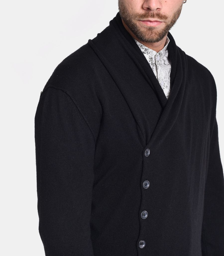 Men's side buttonign cardigan black. 402
