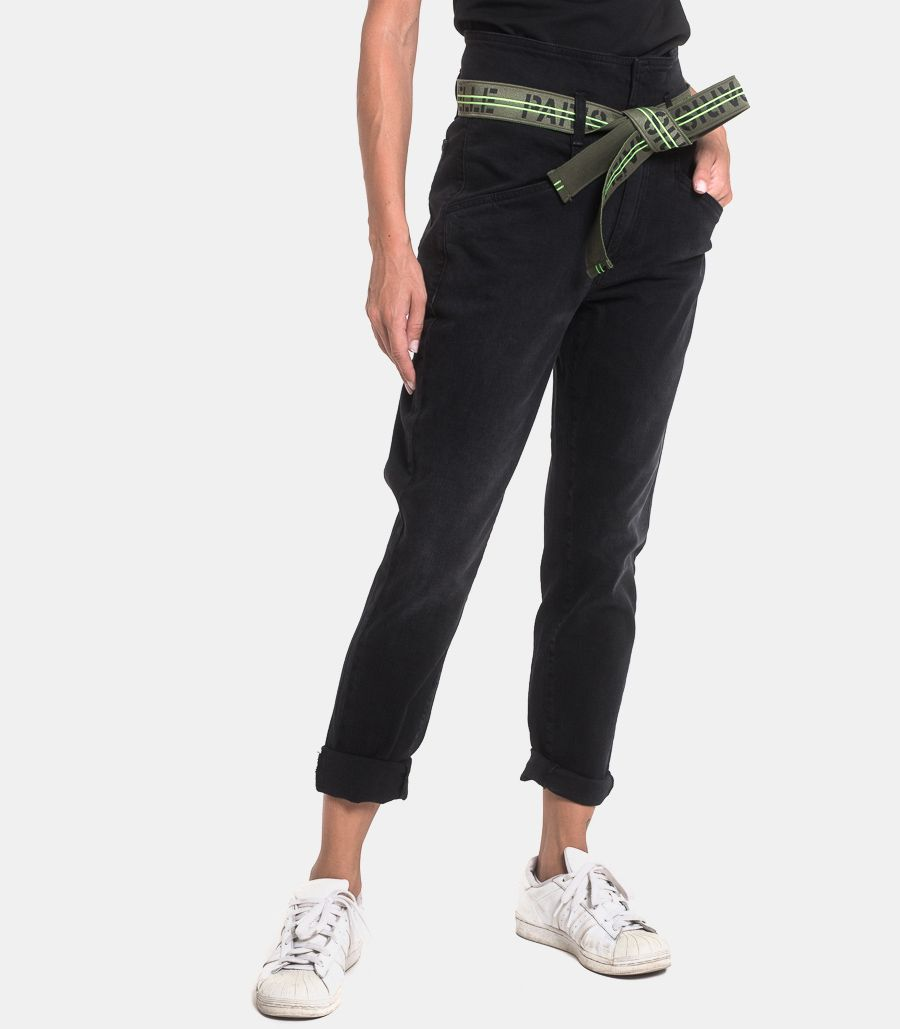 Women's jeans with belt black. GBD7374