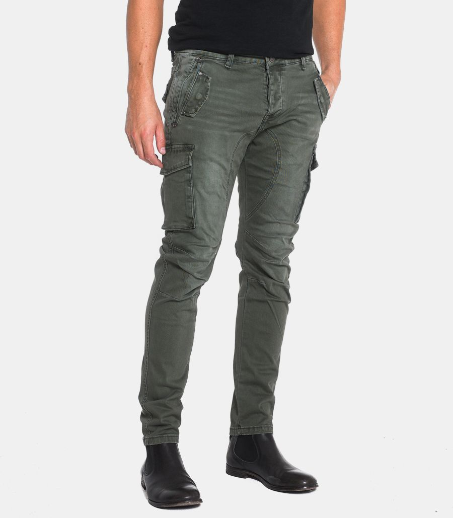 Men's cargo trousers stone washed green. GL2363J-CLF20