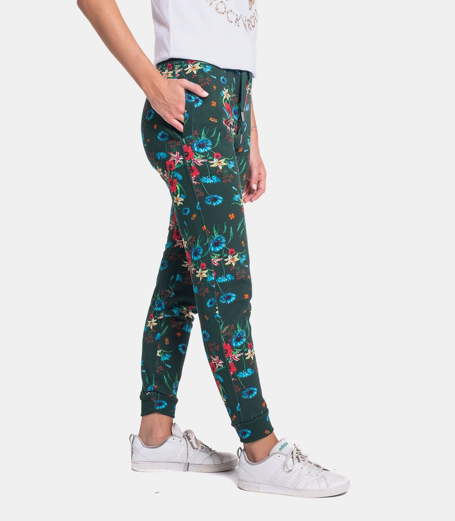 Women's fleec trousers flowers with logo. CLASSIC FLOH2