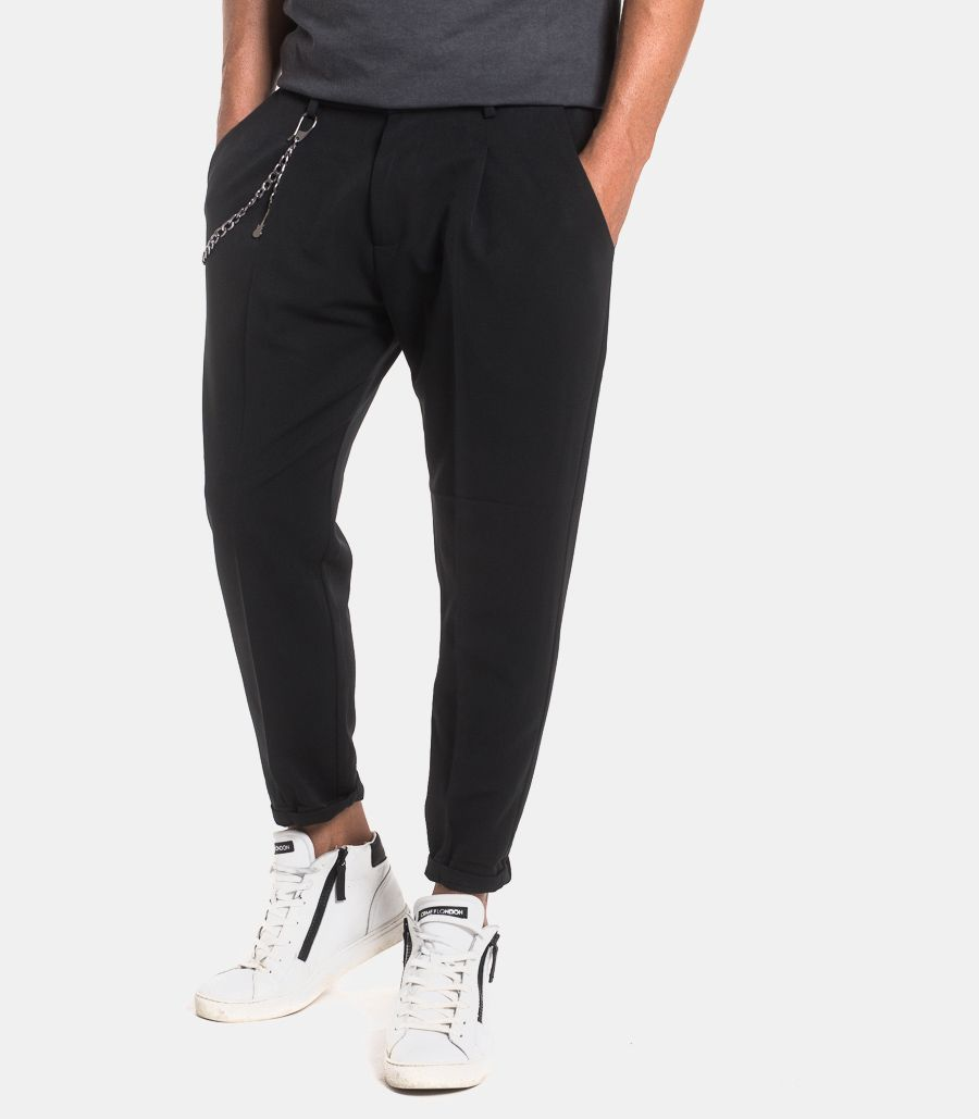 Men's chinos trousers with chain black. 1001