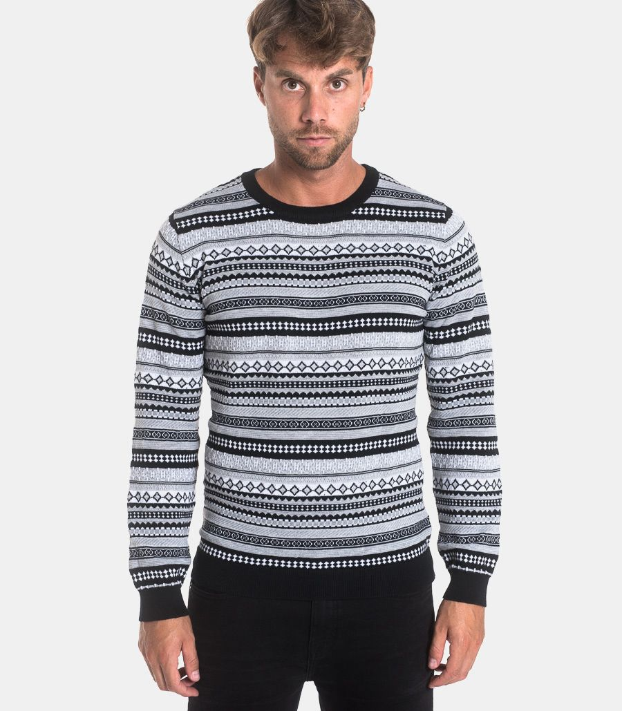 Men's roundneck sweater fancy white black. 1014 MAGLIA