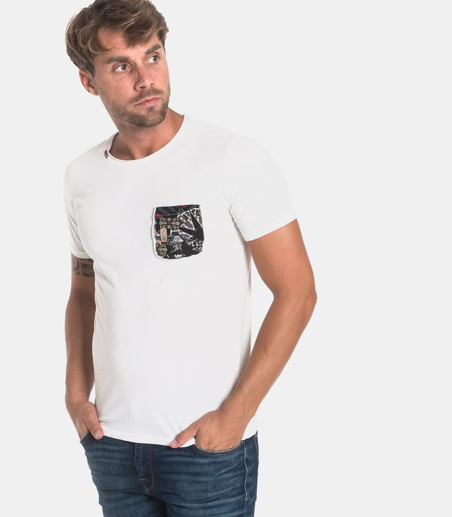 Men's patchworks & pocket t-shirt white. 11658