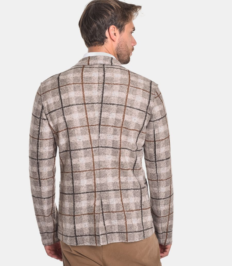Men's checket jacket mud. ALMA-BC110
