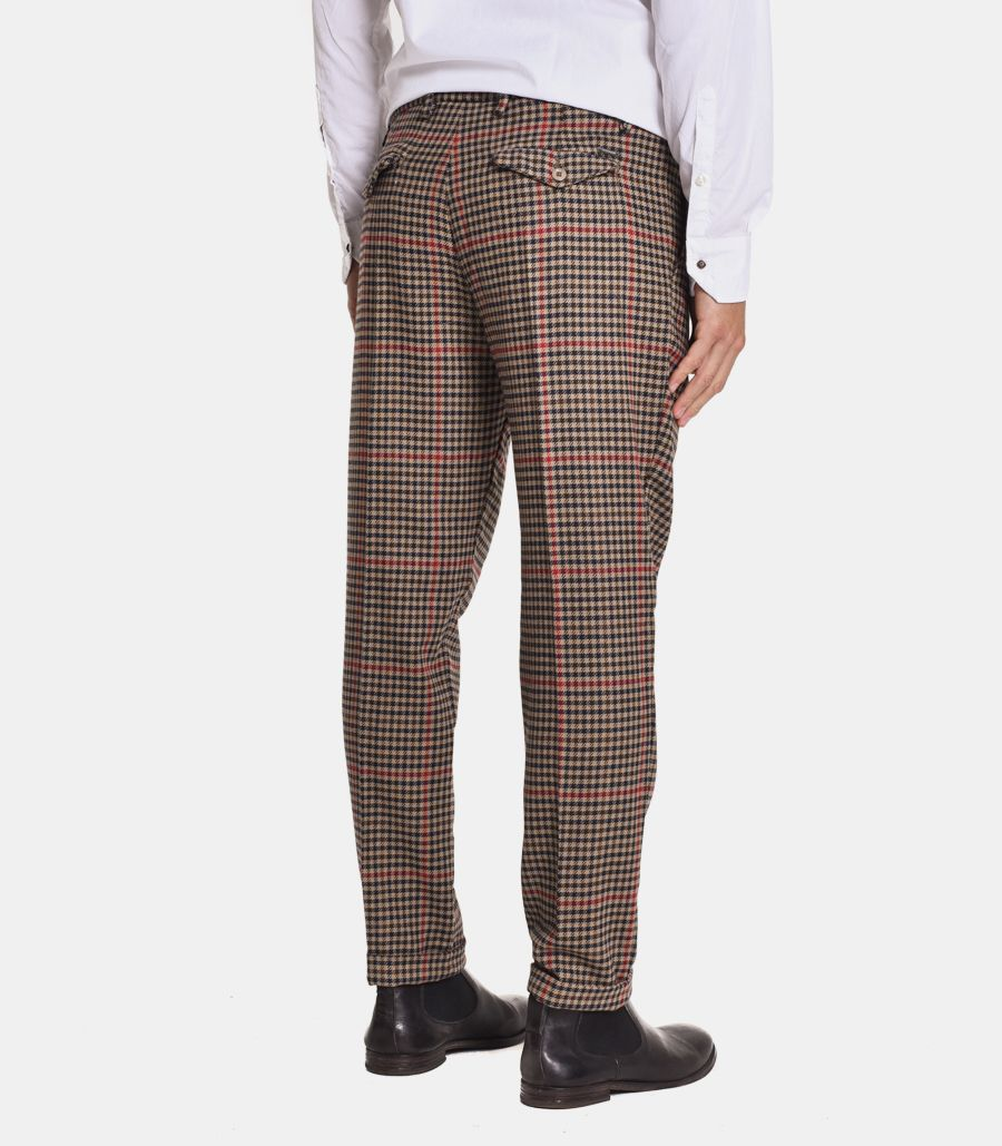 Men's micropattern square trousers camel red. MK89573