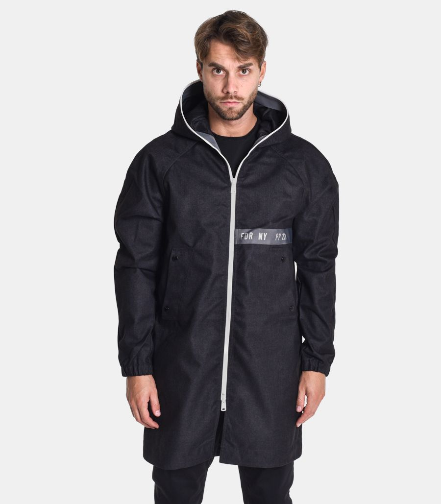 Men's long hooded jacket limited edition black. M8065B000S83940