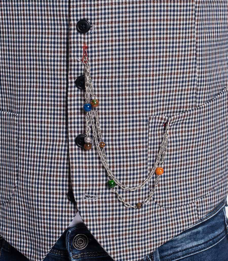 Men's chequered gilet with chain blue. SW220035