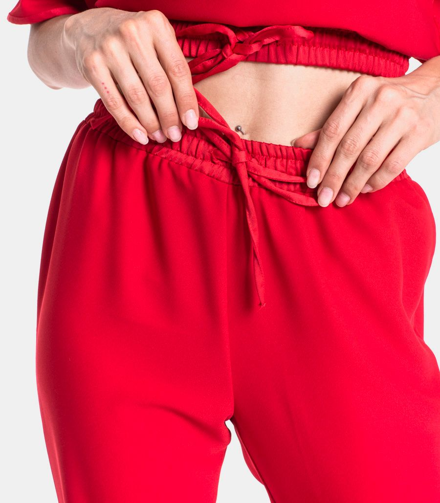 Women's trousers with side piping red. TW0381