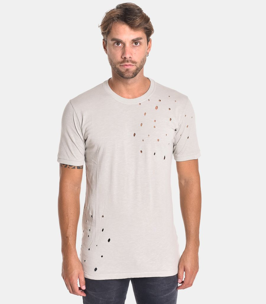 Men's ripped t-shirt beige. 1J30022