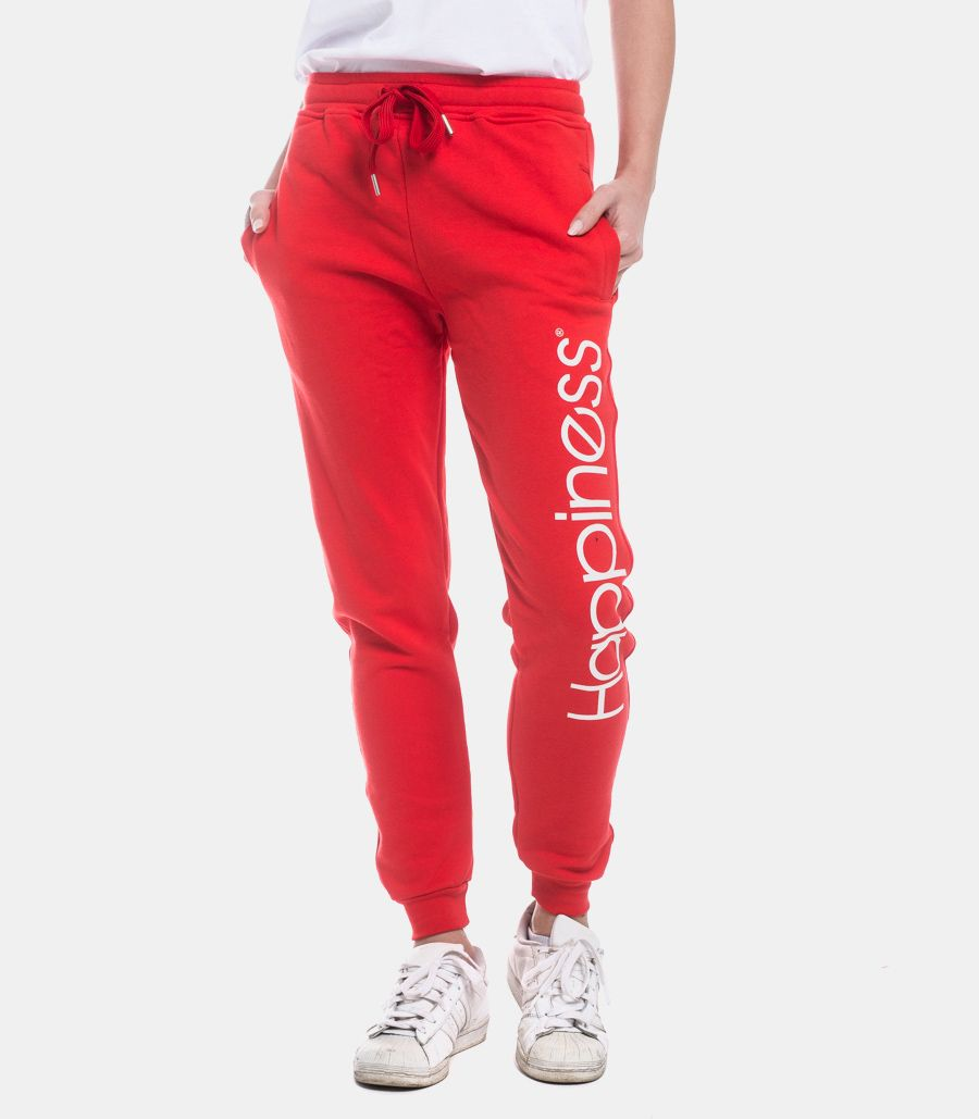 HAPPINESS WOMEN'S LOGO TRACKSUIT PANTS RED