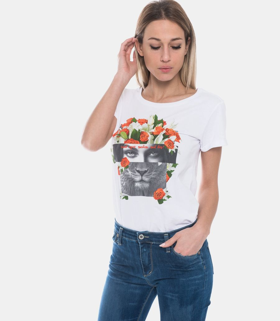 HAPPINESS T-SHIRT DONNA STAMPA LION BIANCA