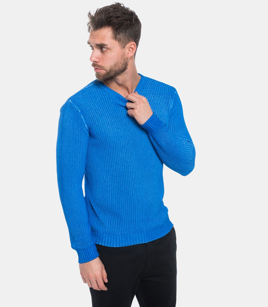 IMPERIAL MEN'S WORKED SWEATER LIGHT BLUE