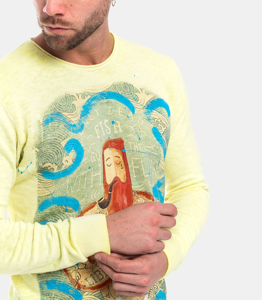 KOON MEN'S SWEATER LIBERTA' DI PENSARE YELLOW