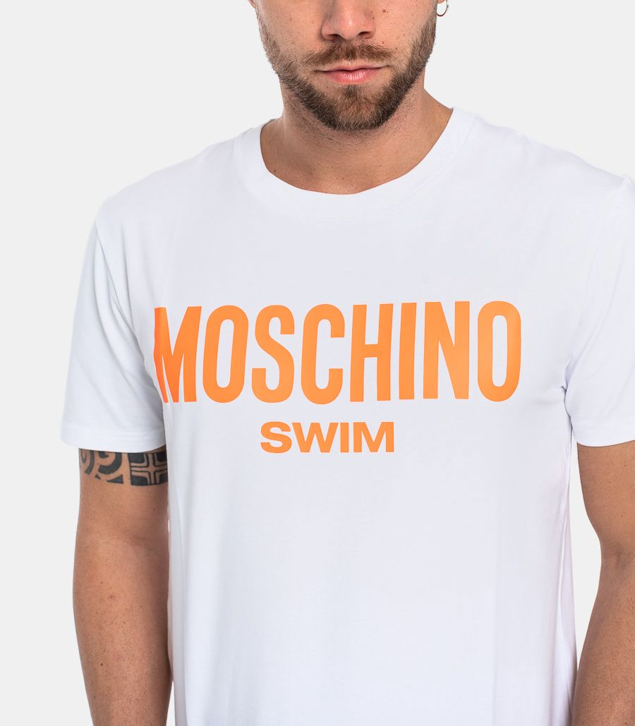 MEN'S SWIM T-SHIRT WHITE ORANGE