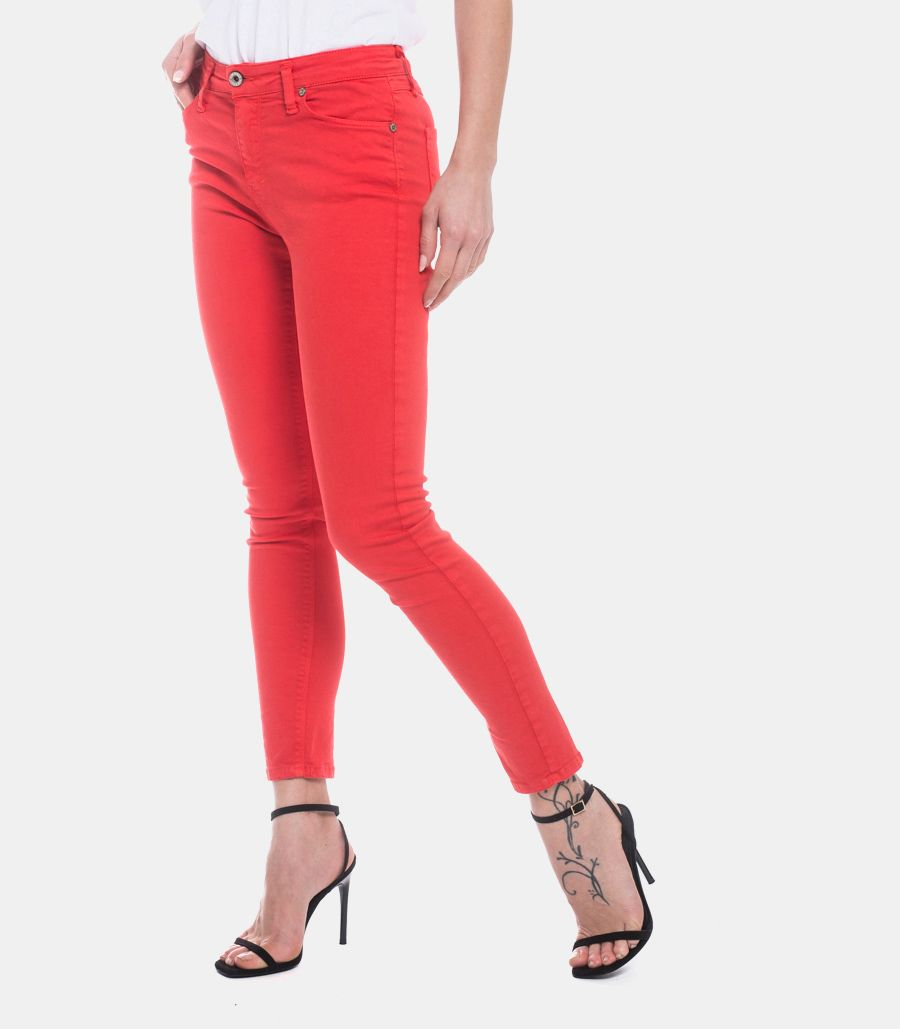 PLEASE WOMEN'S SKINNY TROUSERS RED