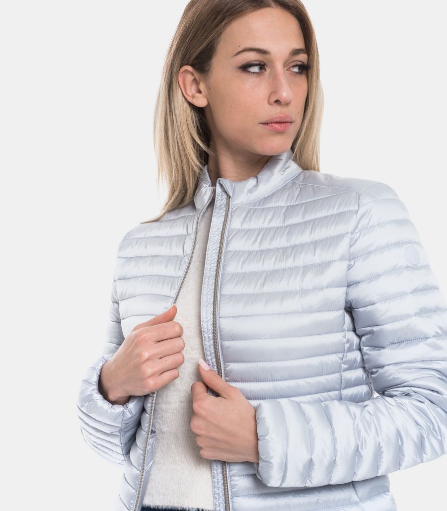 SAVE THE DUCK WOMEN'S KOREAN DOWN JACKET CRISTAL GREY