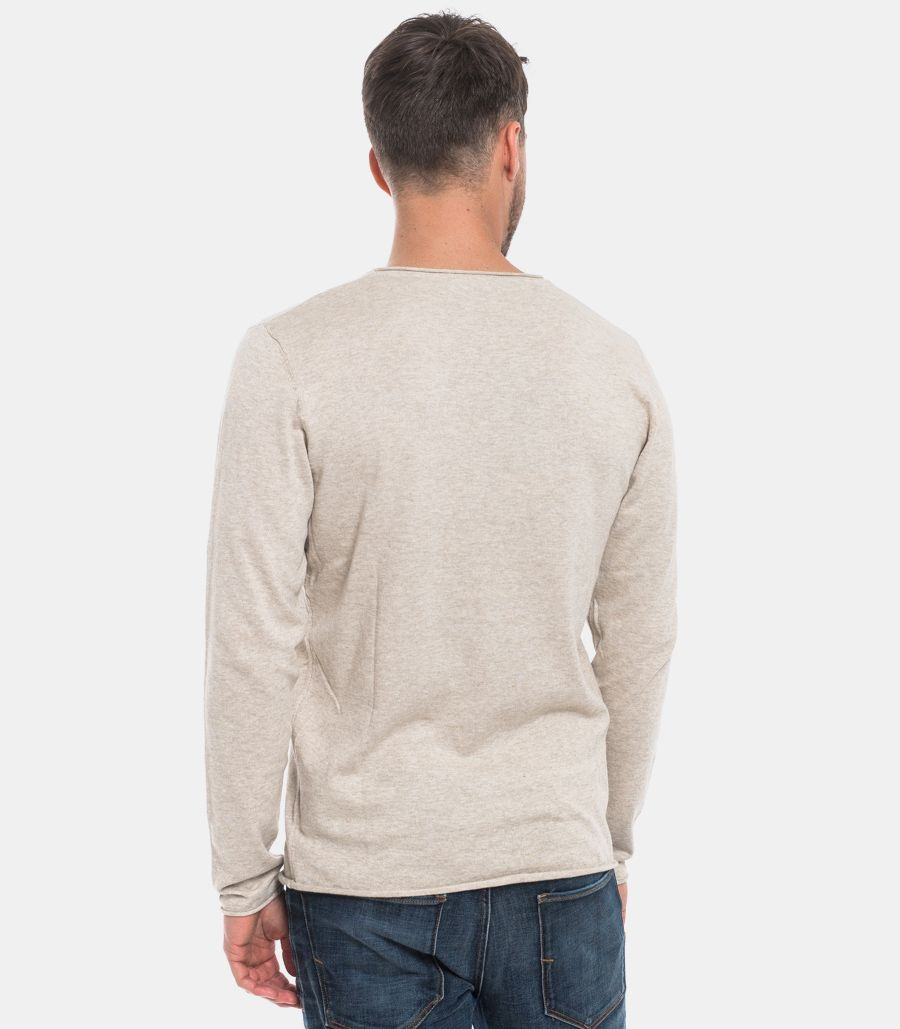 SELECTED MEN'S SWEATER RAW CUT MUD