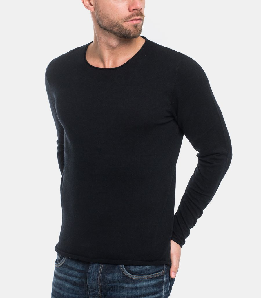 SELECTED MEN'S SWEATER RAW CUT BLACK